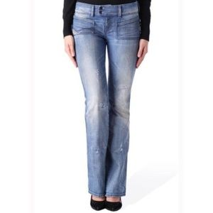 Diesel Whiskered & Faded Boot Cut Jean